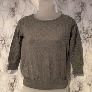 LOFT Grey 3/4 Sleeve Sweater Detailing petite
